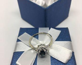 Stunning! 14K White Gold Tsavorite Garnet & Diamond Solitaire Ring, Size 8 - Great Gift for Her! Mother's Day Gift! Graduation Gift!