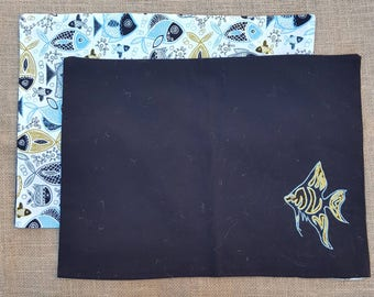 2 cotton fabric fish placemats -reversible - hand embroidered - blue and yellow - ready to brighten up your dinner table
