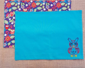 2 cotton fabric owl placemat - reversible - hand embroidered - owl on a tree branch - blue, purple, and red - ready for your dinner table