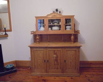 Waxed Victorian dresser with glazed cabinet in solid pine, huge amount of storage and detail, VGC