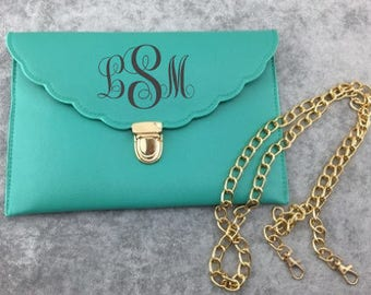 Monogram 2-in-1 Scalloped Envelope Clutch