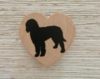 Goldendoodle Silhouette Wood Heart Magnet