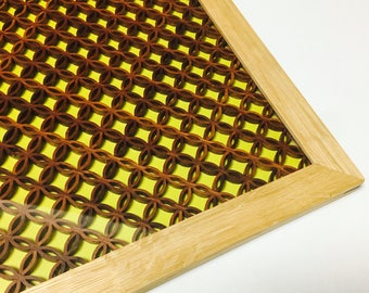 Wooden plate/gift/yellow/tray/en/handmade/Made in Japan/Kyoto/oak/muntins/mediocrity/trays/wood/Japanese pattern/present