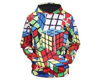 Rubiks, Rubiks Cube, Rubiks Cube Art, Rubiks Cube Print, Hoodie Art, Art Clothing, Hoodie Pattern, Pattern Hoodie, Hoodie, 3d Hoodie Style 1