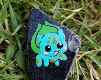 Bulbasaur Pokemon painted rock