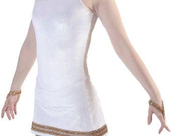 Women's Figure Skating Competition Dress Figure Ice Skating Dress - White/Gold