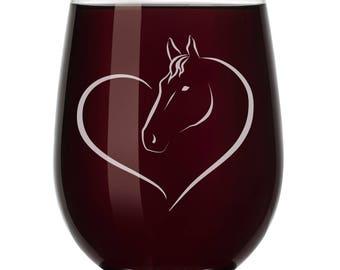 Heart Horse Wine Glass Stemless or Stemmed