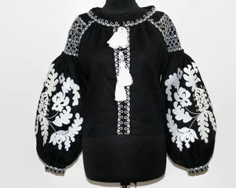 Ukrainian Vyshyvanka Bohemian Clothing Black Linen Boho Blouse Embroidered Clothes Boho chic Custom Embroidery Ethnic Folk Vishivanka