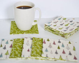Quilted Coasters/ Cup coaster/ Mug rugs/ quilted mug rugs/ coaster/ Tree Coasters/ Coaster set/ Gift Ideas/ wedding gift/Cotton anniversary