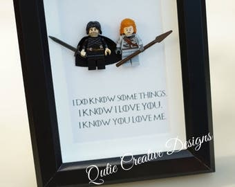 Game of Thrones, Lego, Lego frames, Jon Snow, valentine, gift for him, anniversary, birthday, anniversary inspired by LEGO