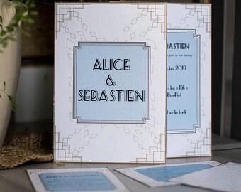 Art deco A5 eco friendly wedding invitation