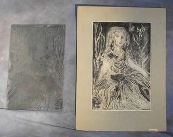 Mama Doll - 1962 Etching & Original Metal Printing Plate by the late Artist Alice Wadowski-Bak