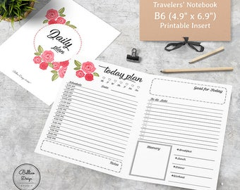 Printable B6 Insert, Planner B6, TN B6 Inserts, Foxy Fix No 5, Daily Schedule Planner, Day on Two Page Inserts, Daily Traveler's Notebook