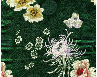 Chinese brocade satin fabric material multi colored flower longevity on hunter green  embroidered by the 0.5 YARDS, Yards Meters cbs 92