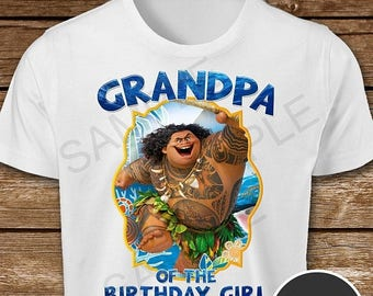 ON SALE 30% Moana Iron On Transfer. Moana Grandpa of the Birthday Girl Iron On Transfer. Moana Grandpa Shirt.