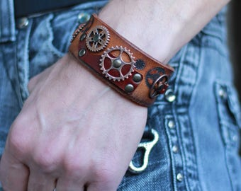 Christmas gift, Steampunk bracelet, clothing gift for him, recycled leather cuff, brutal wristband, cosplay item, LARP jewelry, clock gear