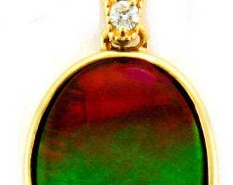 14K Yellow  Gold Pendant with Canadian Ammolite and Diamond