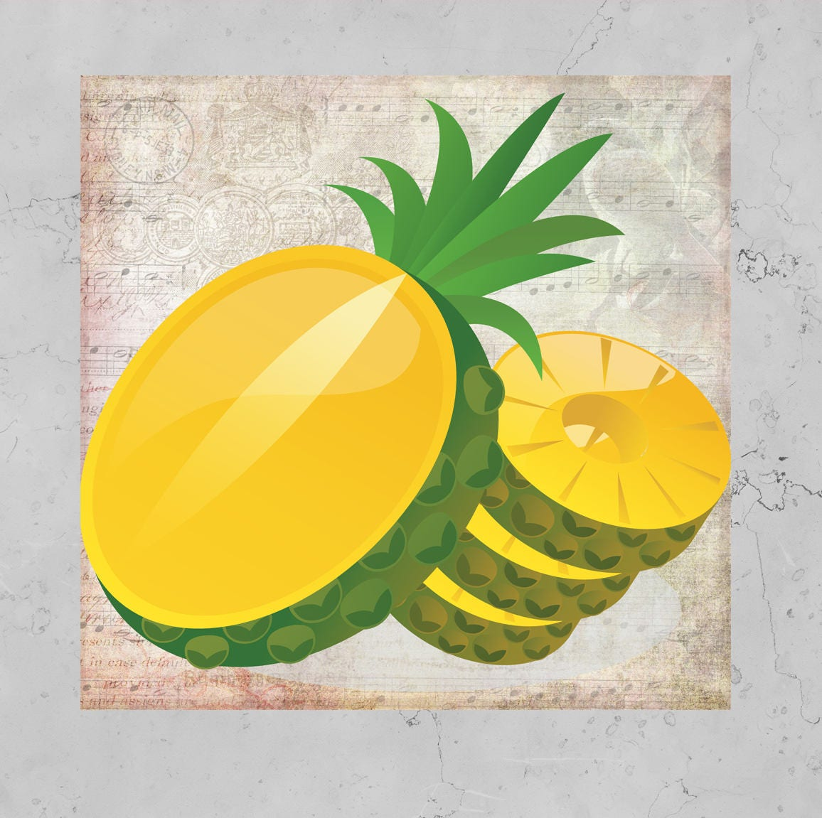 Pineapple print Digital illustration Tropical print Music page ...