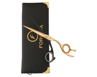 Professional Salon Shears 5.5 Black gold Hairdressing Scissors Barber Shears