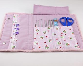 Pink floral crochet hook case