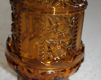 Vintage Amber FAIRY LAMP Bars and Stars Candle Holder