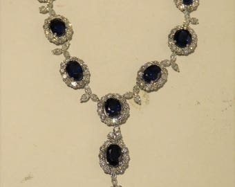 75000 Rare Magnificent Gal Certified Important Estate 18KT Gold Large 20CT Ceylon Sapphire Diamond Necklace!