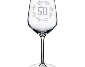 White Wine glass birthday gift etched 50 Years