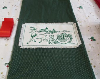 """Christmas bag with cross stitch to pack green gifts """"Reindeer and sled"""""""
