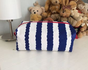 Large pencil bag toiletry bag in blue and white striped wax