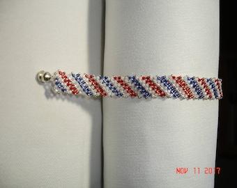 RedWhiteBlue Beaded Bracelet