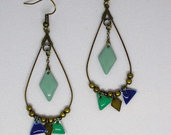 Handmade/gift women blue/dangling/diamond/triangle/shuttle/geometric/bronze/made drop earrings