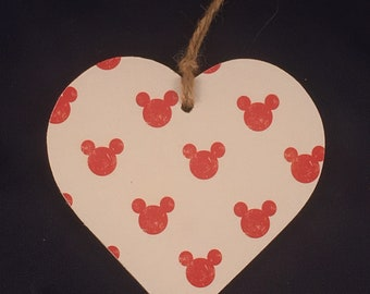 Minnie / mickey Mouse Decoupaged hanging heart plaque nursery decoration
