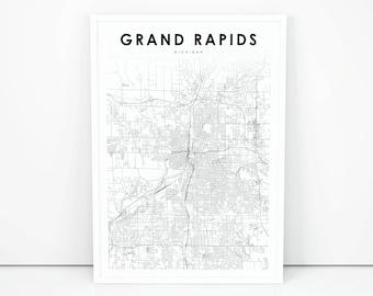 Grand rapids map Etsy