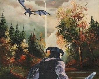 "An Art Parody Called  ""Skyrim: The Elder Scrolls - Dovahkiin's Dragon Encounter""  Classic Sofa Painting Recycled Thrift Store Art"