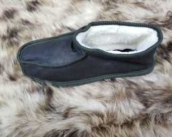 Greek Handmade Genuine LEATHER & FUR Μen's Slippers, Boots Style