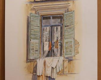 OLD GREEK WINDOWS, Old Window, Olympiados Str, Thessaloniki (Upper Side of the City), (Aquarelle) 50x70cm, 2/2016