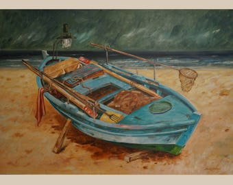 """BLUE BOAT"""", 130x90cm, Oil on Canvas"""