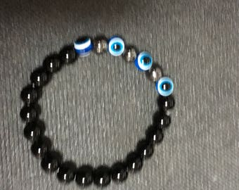 Hematite/ Obsidian Gemstones Protection Evil Eye Bracelet.