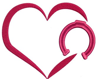 Embroidery Design Heart with Horseshoe for 5 x 7 Hoop