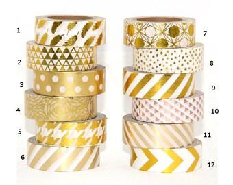 Christmas Gold Washi Adhesive Masking Tape