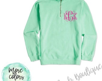 monogrammed sweater, comfort colors, monogrammed sweat shirt, gift for her, personalized sweater, monogrammed quarter zip