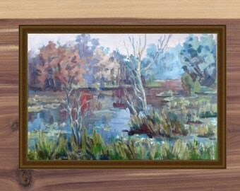 Summer landscape of the river / Picture of the summer landscape / Impressionism on canvas in oil / 16-24 inches / Original / canvas/ green
