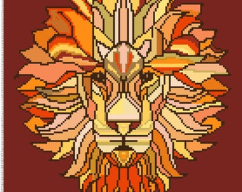 Buy 1 and Get 1 Free! Etno Lion Modern Cross Stitch Pattern Counted Cross Stitch Chart Needlecraft Pdf Format Instant Download 203275-035
