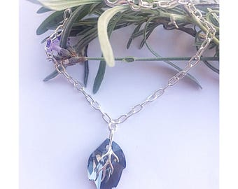Beautiful sterling silver leaf bracelet made using Swarovski 'Silver Night' crystal