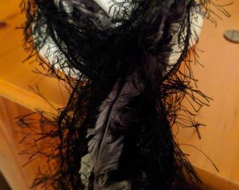 Black fuzzy scarf