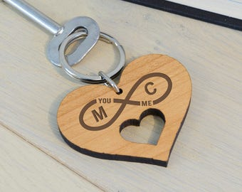 Cherry Wood Infinity Personalised Heart Keyring