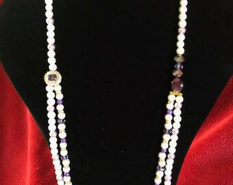 White and Lilac Pearl Necklace
