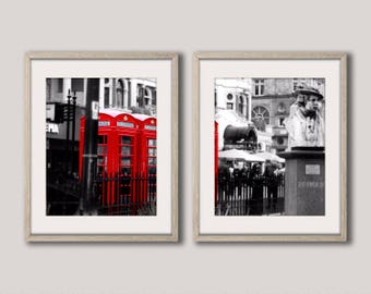 Red Phone Box Print, Red Telephone Print, Digital Download, London Print, London Wall Art, Set of Two Prints