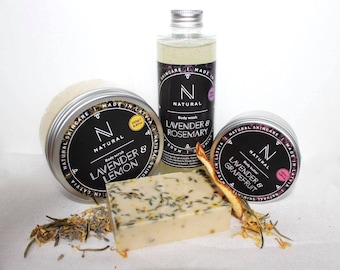 N A T U R A L | Bath gift set with Lavender & Rosemary scents | Body scrub | Body butter | Body wash | Christmas gift | Bath gift set