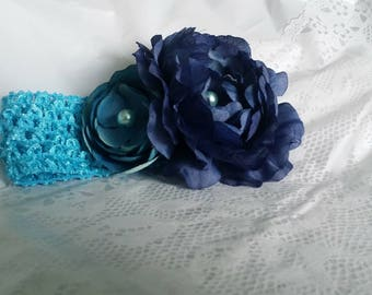 Navy Blue Flower Stretch Headband Crochet Mesh